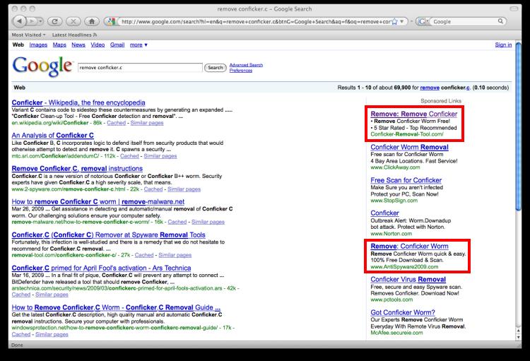 Google search for Conficker.C