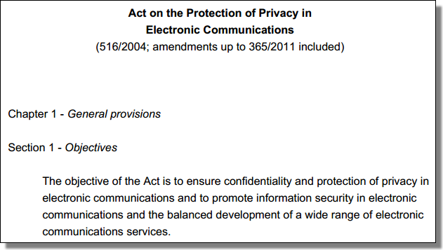 Act on the Protection of Privacy in Electronic Communications