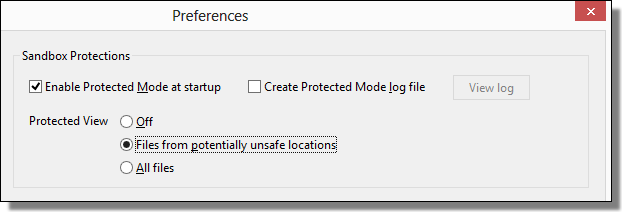 Adobe Reader XI, Preferences, Protected View
