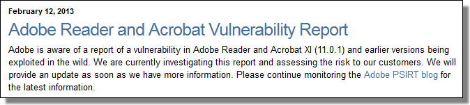 Adobe Reader Vulnerability, Feb 12