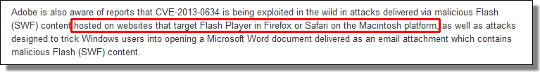 Adobe APSB13-04, Firefox and Safari for Mac
