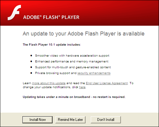 Adobe Flash Player, Update 10.1