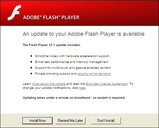 Adobe Flash Player, Update 10.1