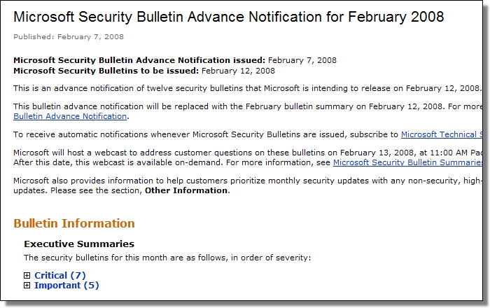 Advance Notification for February 2008