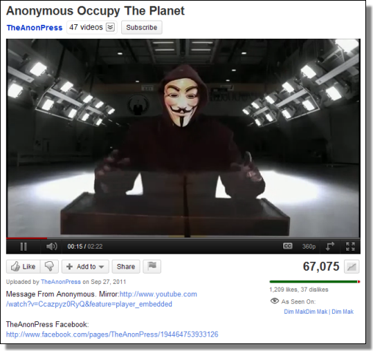 Anonymous: Occupy The Planet