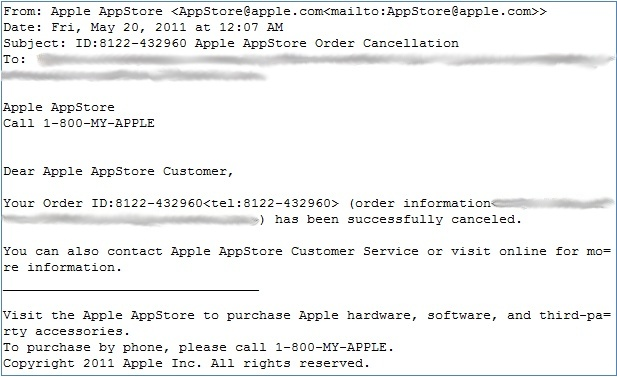 AppStore E-mail Phishing Text