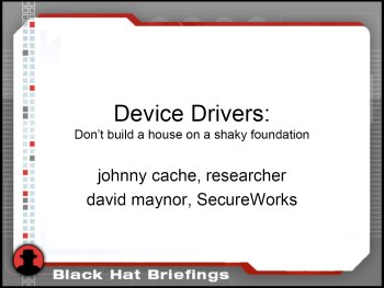 Slide One - Device Drivers