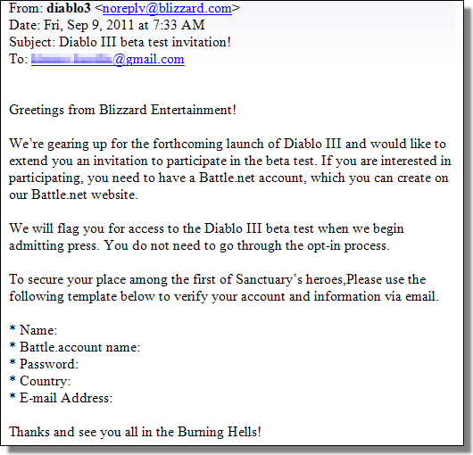 Blizzard phishing