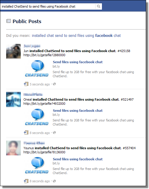 ChatSend Spam, Facebook