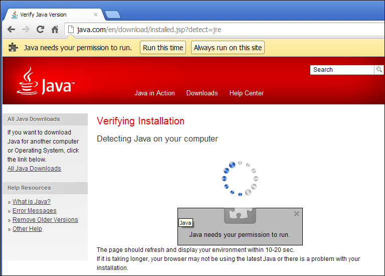 Chrome, Java needs your permission to run