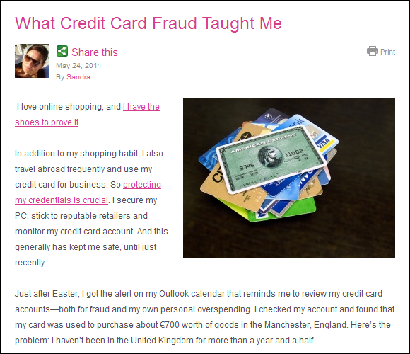 Safe and Savvy, What Credit Card Fraud Taught Me