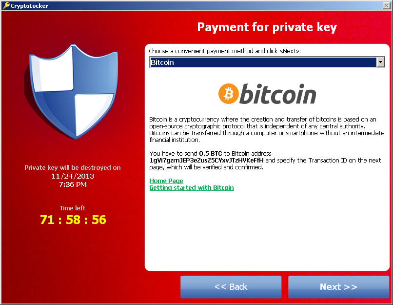 CryptoLocker 2013.11.20, Bitcoin