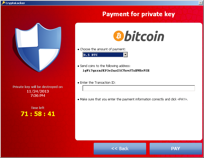 CryptoLocker 2013.11.20, Send coins to�