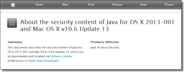 About the security content of Java for OS X 2013-001 and Mac OS X v10.6 Update 13