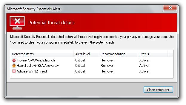 Fake Microsoft Security Essentials scan