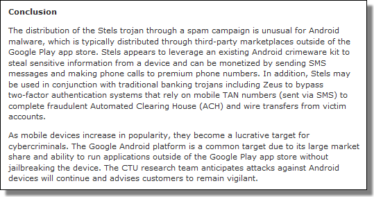 Dell SecureWork's Stels Android Trojan Malware Analysis