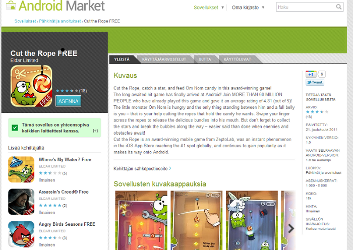 Eldar Limited, Android Market