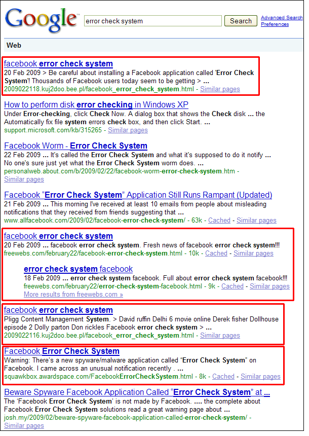 Error Check System Search Results