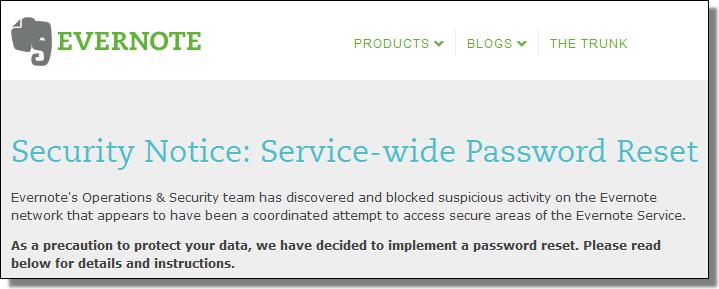 Evernote Security Notice