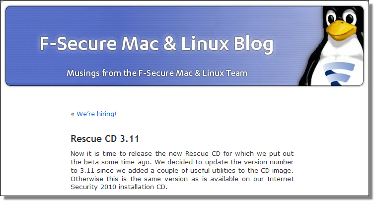 F-Secure Rescue CD 3.11