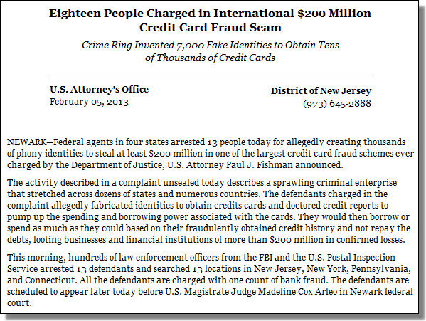 Eighteen People Charged in International $200 Million Credit Card Fraud Scam