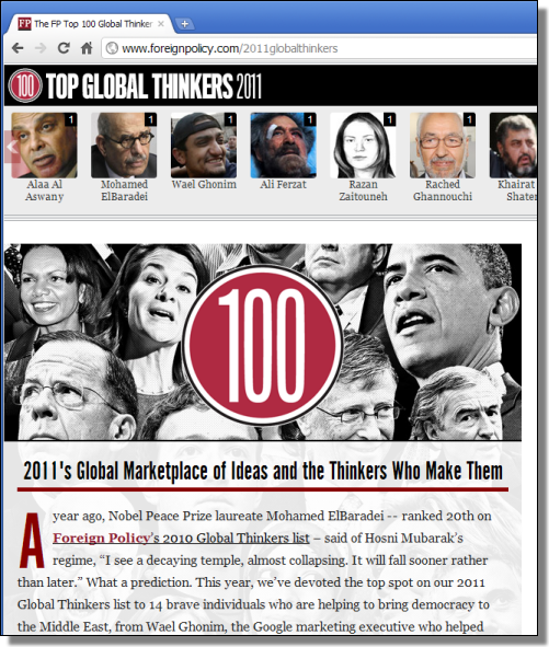 The FP Top 100 Global Thinkers, 2011