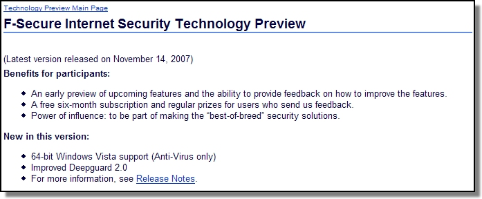 F-Secure Internet Security Technology Preview