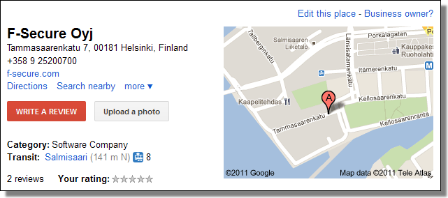 F-Secure, Google Places