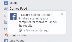 Facebook, F-Secure Online Scanner: finished