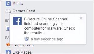 Facebook, F-Secure Online Scanner: finished