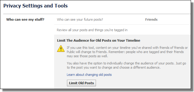 Facebook Settings, Limit Old Posts
