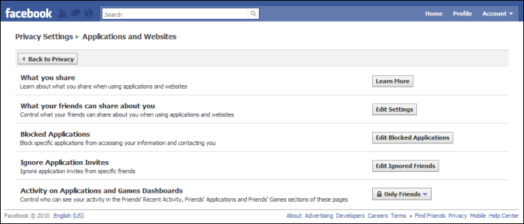 Facebook Application Privacy