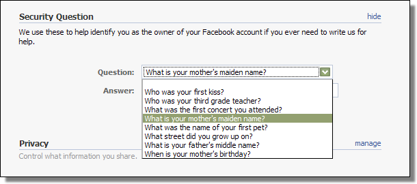 Facebook Security Questions