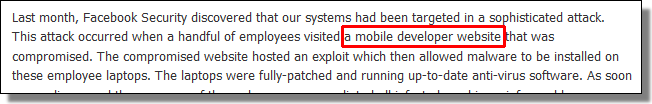 Visited a mobile developer website that was compromised