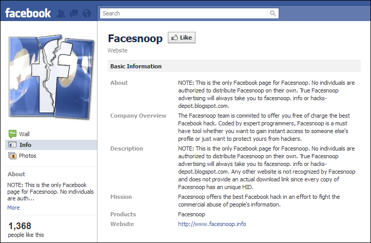 Facesnoop Facebook Page