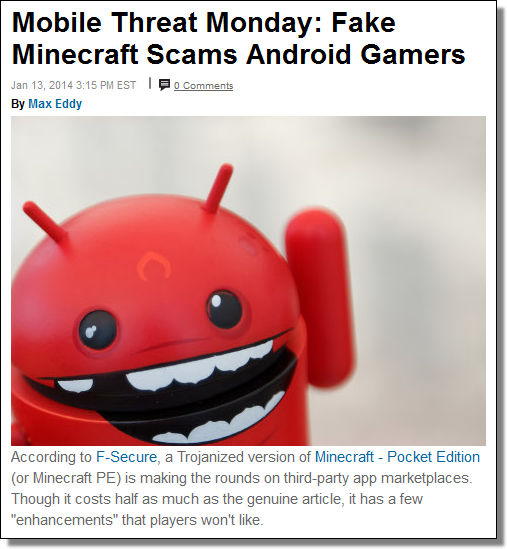 PC Magazine, Mobile Threat Monday: Fake Minecraft Scams Android Gamers