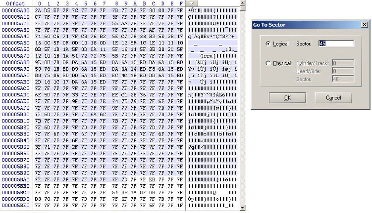 15: Encoded Executable File at Sector 45