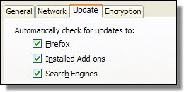 Firefox Update Options