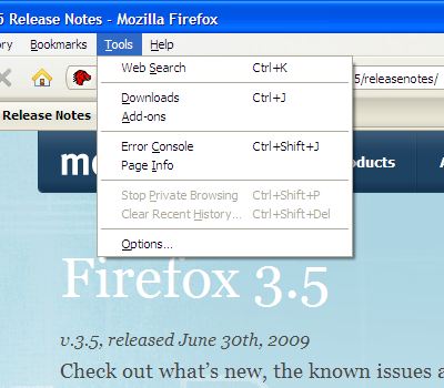 Firefox 3.5 Tools Menu