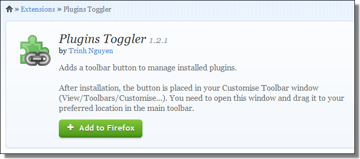 Firefox extension, Plugins Toggler