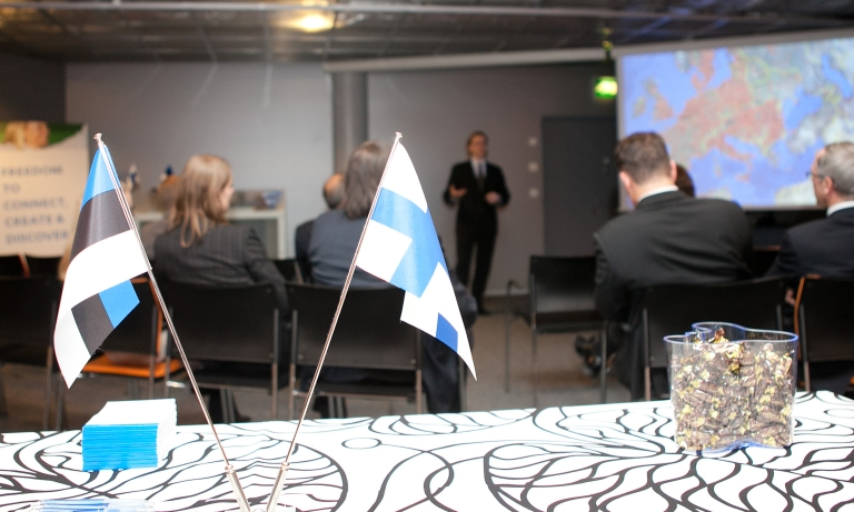 The flags of Estonia and Finland