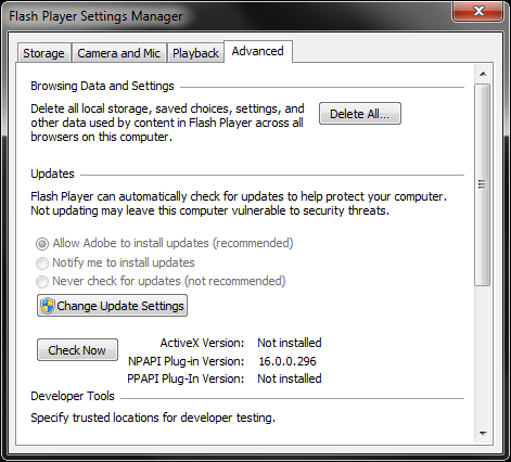Settings Manager, Flash Player 16.0.0.296