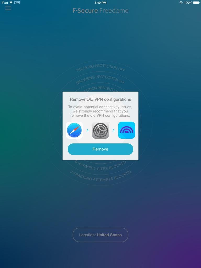 Freedome 2.0.1 on iOS 8