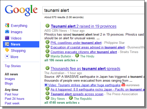 Google News Tsunami Alert
