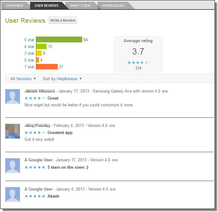 Google Play, User Reviews, English