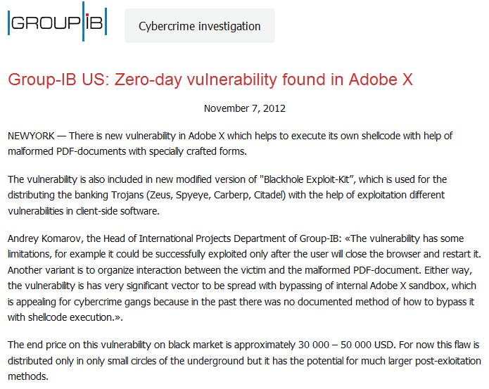 Group-IB US: Zero-day vulnerability found in Adobe X