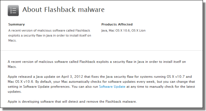 About Flashback malware, support.apple.com/kb/HT5244