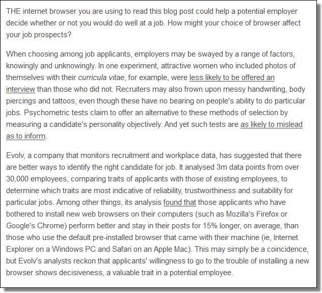 How might your choice of browser affect your job prospects
