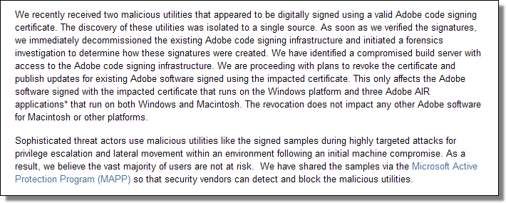 Inappropriate Use of Adobe Code Signing Certificate