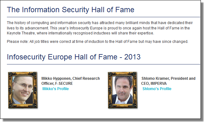 Infosecurity Europe's Hall of Fame 2013